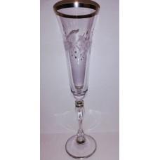 """Набір келихів для шампанського """"Квіти з кристалами """" платина"""