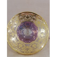 Фруктовница  на ніжці  фіолетова з позолотою (гладка)TIMON