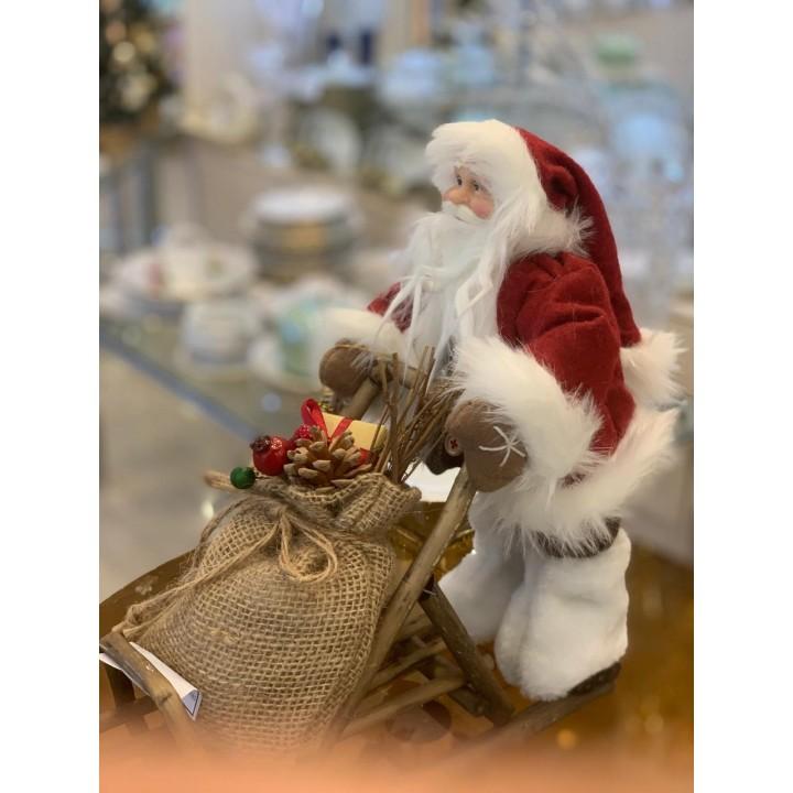 Фігурка «Дід Мороз з мішком на санках» 033NC